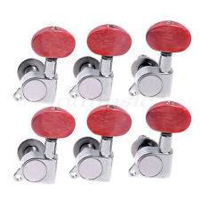 New 6Left Acoustic Tuning pegs machine Heads Amber Red Button