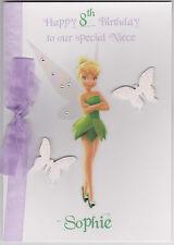 Personalised Handmade Disney Tinkerbell Birthday Card - Daughter, Sister, Niece
