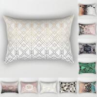 Rectangle Pillow Case Geometric Marble Sofa Car Waist Cushion Cover Home Decor