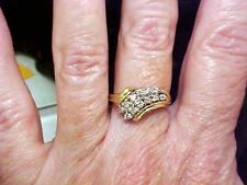 GENUINE DIAMOND WATERFALL CLUSTER RING 14KT YG GREAT DEAL!!