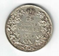 CANADA 1918 TWENTY FIVE CENTS QUARTER KING GEORGE V STERLING SILVER COIN