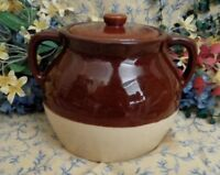Vintage Stoneware Bean Pot USA Pottery Over 2 Quarts Brown and Cream with Lid