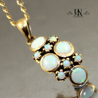 NICE HANDMADE VINTAGE STYLE SOLID WHITE OPAL 9K YELLOW GOLD PENDANT + FREE CHAIN