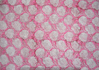 Indian 100% Cotton Voile Fabric Pink Multi Sewing Hand Block Print Craft 5 yard