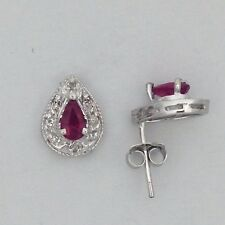 14kt White Gold Earrings with Natural Ruby & Natural Diamond