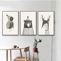 Hand Draw Woodland Animal Bear Deer Canvas Nordic Poster Nursery Art Print Decor