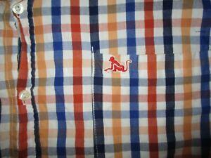 DRUNKNMUNKY BUTTON DOWN SHIRT Plaid Checker Stripe Mustard Blue Short Sleeve XL