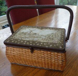 Vintage sewing basket box