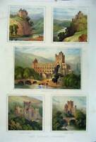 Old Antique Print 1880 Border Country Jedburgh Abbey Kelso Melrose Castle 19th