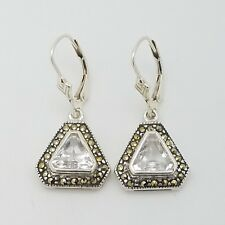 New CPT 925 Sterling Silver Marcasite White Topaz Triangle Drop Dangle Earrings