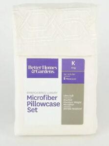 Cream Embroidered Luxury Microfiber Pillowcase Set 2 King Better Homes & Gardens