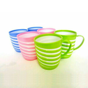 6 x Reusable PLASTIC MUGS Colourful Drinking Cups Tea Coffee Camping Picnic Kids