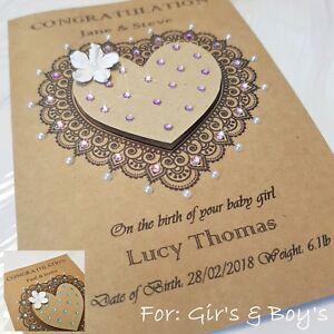 Handmade Personalised New Baby Card Boy Girl Brown Heart Crystal Custom Gift 3D