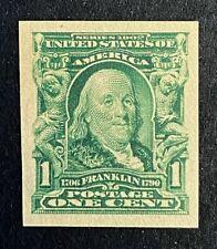 US Stamps, Scott #314 lmperf single 1c 1906, XF M/NH Post Office fresh. Nice!