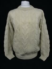 Aran Cable Knit Sweater, Chunky Knit Crew Neck Jumper, Medium, Wool, 59cm Wide