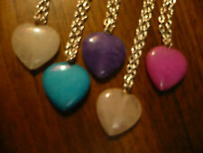 GENUINE POLISHED AGATE PUFFED HEART PENDANT on SILVER PLATED CHAIN COLOUR CHOICE