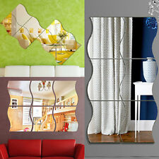 6PCS Wave Mirror Home Acrylic Wall Sticker Art Vinyl Mural Decor Decal Removable