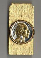 Money Clip Gold and Silver on Silver Buffalo Nickel Coin Collector Gift + Box