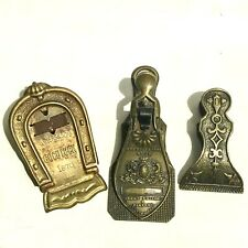19th c. Brass Paper Clip Group of Three (3) Paper Clips