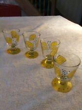 "Set of 4 Hand Painted Pedestal Orange juice Glasses. ""New"""