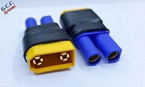 Convert LiPo XT90 Batteries To EC5 Connectors / ESC - Set of 2 - Brand New
