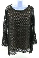 Brittany Black Womens Black Lace Long Sleeve Top Casual Size Small