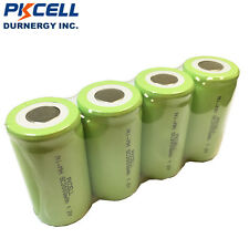 4×NiMh Sub C Size 1.2V 3000mAh Rechargeable Industrial Battery Flat Top PKCELL