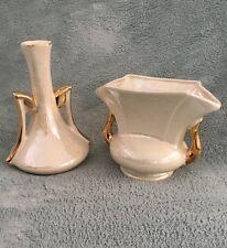 2 Vintage 22K Gold Trim Bud Vases