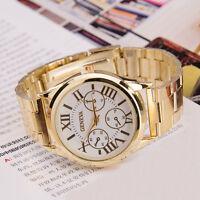 Roman Stainless Steel Geneva Fashion Men Women  Analog Quartz Gold Wrist Watch