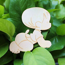 10X Wooden Kids Baby Shape Laser Cut Unfinished Wood Shapes Craft DIY Home Decor