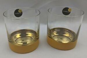 Set of 2 Nicolette Mayer ORO 24 Gold Whiskey Glasses Double Old Fashioned Glass
