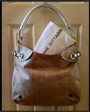 Adrienne Vittadini Suede Leather Snakeskin Painted Handbag Purse