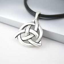 Vintage Silver Alloy Triangle Trinity Knot Celtic Pendant Black Leather Necklace