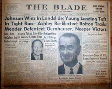 1964 Toledo OHIO newspaper DEMOCRAT LYNDON B JOHNSON is ELECTED US PRESIDENT