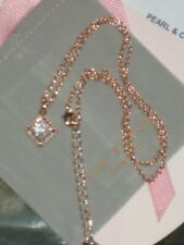 TED BAKER  Swarovski Stone Pearl Frame Square Pendant Rose Gold *NEW*