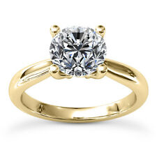 Solitaire 1.00 Carat VS2/G Round Cut Diamond Engagement Ring Yellow Gold