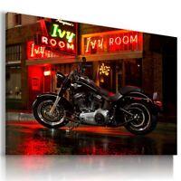 HARLEY DAVIDSON BLACK MOTOR BIKE Wall Canvas Picture ART  HD56 MATAGA