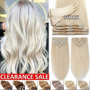 CLEARANCE THICK Clip In Real Remy Human Hair Extensions Double Weft Full Head DH