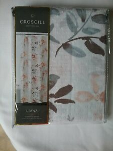 CROSCILL Liana 100% Fabric Shower Curtain Floral White Blue Rose Pink Soft Coral