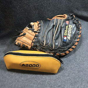 """WILSON A2000 CATCHERS MITT RIGHT HANDED PRO TOE USED 1791 PUDGE 32.5"""" & CARE KIT"""