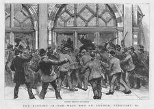 LONDON Unemployed Riots, Looting Shops in Piccadilly - Antique Print 1886