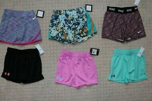 Girls Nike & Under Armour  shorts and Skirt Lot of 6   all new Size 5
