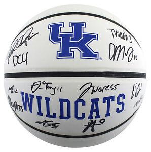 Kentucky (12) Calipari Washington Collins Signed White Panel Logo Basketball BAS