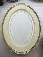 """NORITAKE 4985 JAPAN GOLDKIN BLACK GOLD FLORAL BAND 16"""" OVAL Serving Platter EUC"""