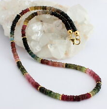 Tourmaline Necklace Precious Stone Facetted Flat Tires bunt-farbe ca.49cm
