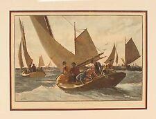 "Signed Milton J. Burns Blue Fishing Framed Print 10"" x 14"""