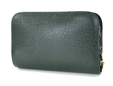 Authentic LOUIS VUITTON Baikal Green Taiga Leather Clutch Hand Wrist Bag #33762