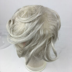 "8""x5"" Super Thin Skin All Hand Tied Human Hair Wavy Men Toupee Silver Grey Color"
