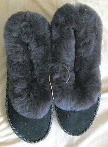 Hausschuhe 100% Lammfell Pantoffeln Winter Warm Ledersohle