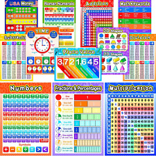 12 Pieces Educational Math Posters with 80 Glue Point Dot for Elementary and Mid